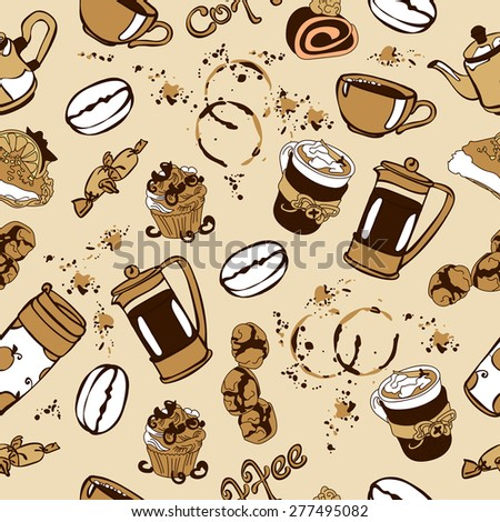 Coffee. seamless background with different of cups of coffee and coffee beans. hand-drawn illustration - stock vector