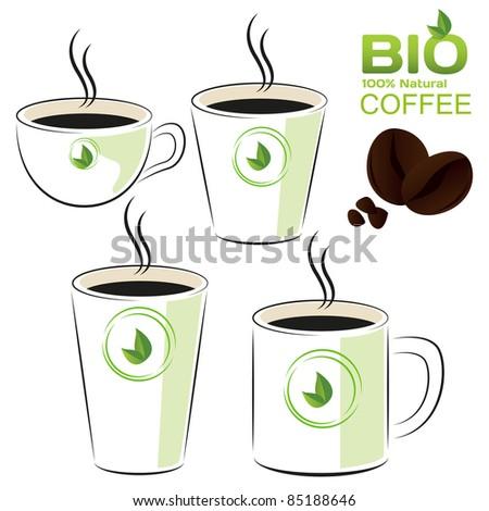Coffee set bio - stock vector