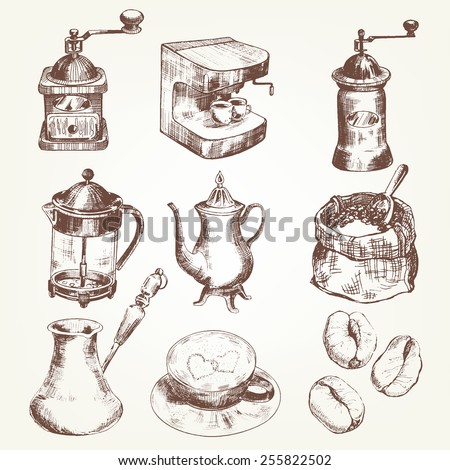 Coffee set. Pen sketch converted to vectors. - stock vector