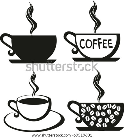 coffee set. The stylised cup of coffee - stock vector