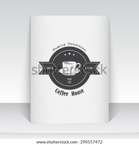 Coffee shop and cafe. The food and service. Old school of vintage label. Sheet of white paper. Monochrome typographic labels, stickers, logos and badges. Flat vector illustration - stock vector