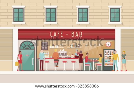 Coffee shop and snack bar interior view with counter, stools, table, customer and barkeeper - stock vector