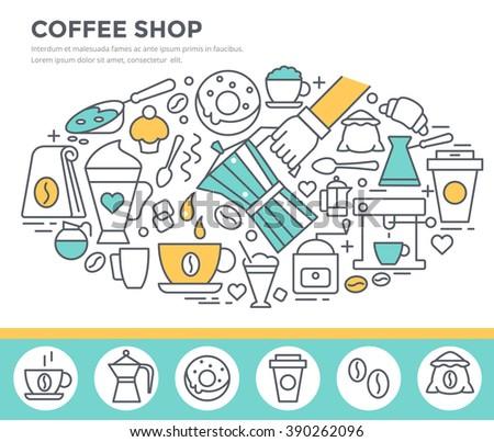 Coffee shop concept illustration, thin line flat design - stock vector