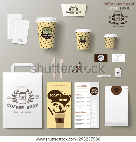 Coffee shop corporate identity branding template design set. Take away mock up  - stock vector