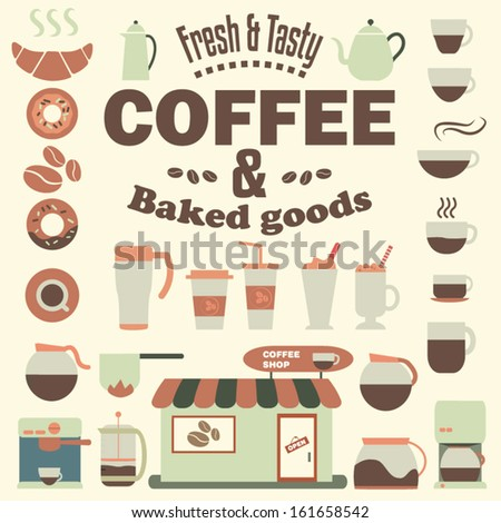 Coffee Shop Elements Vector Set - Cups, Beans, Glasses, Pots, Coffeemakers, Espresso machines, Food and others    - stock vector