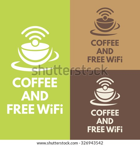 Coffee shop free WiFi zone vector sign with text - stock vector