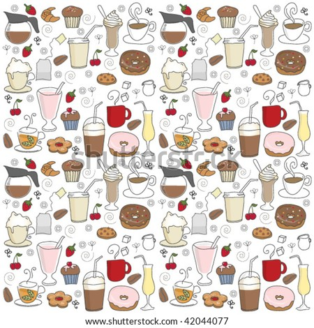 coffee shop icons pattern - stock vector