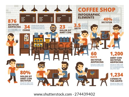 Coffee Shop Infographic Elements - stock vector