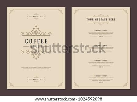 Coffee Shop Logo And Menu Design Vector Brochure Template.