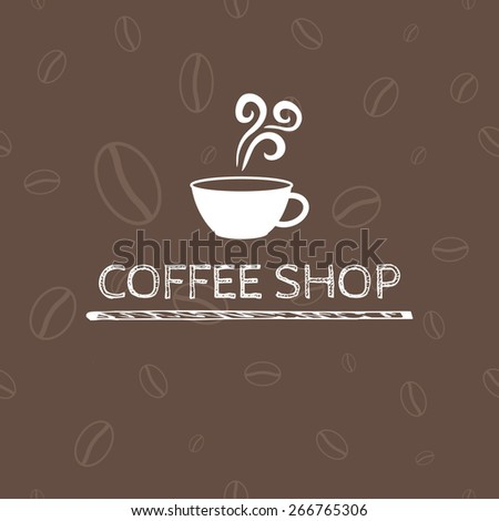 Coffee shop. Logo template on seamless background.