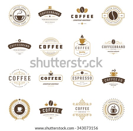 Coffee Shop Logos, Badges and Labels Design Elements set. Cup, beans, cafe vintage style objects retro vector illustration. - stock vector
