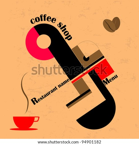 Coffee shop menu, design template, copy space - stock vector