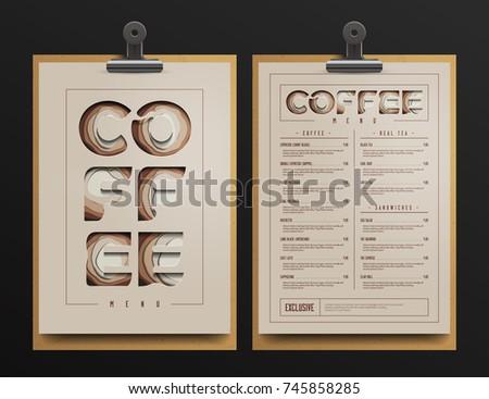 Coffee Shop Menu Template Coffee Menu Stock Vector - Menu mockup template