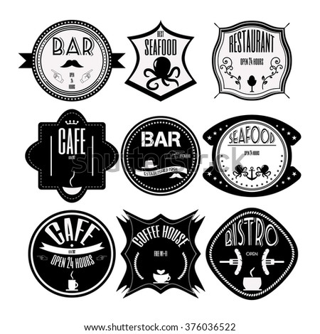 coffee shop, restaurant Set retro vintage badges, ribbons and labels hipster signboard. Vector, illustration.  Black and white