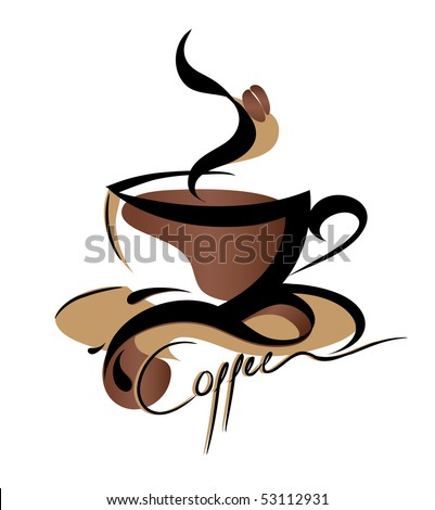 Coffee sign (also available jpeg version of this image without text) - stock vector