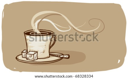 Coffee sign with place for text. - stock vector