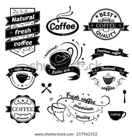 Coffee signs set, retro typography, business restaurant logos  - stock vector