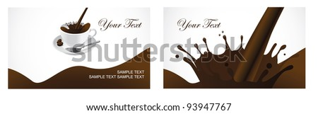 Coffee Splash Business Card Set EPS 8 vector, grouped for easy editing. No open shapes or paths. - stock vector
