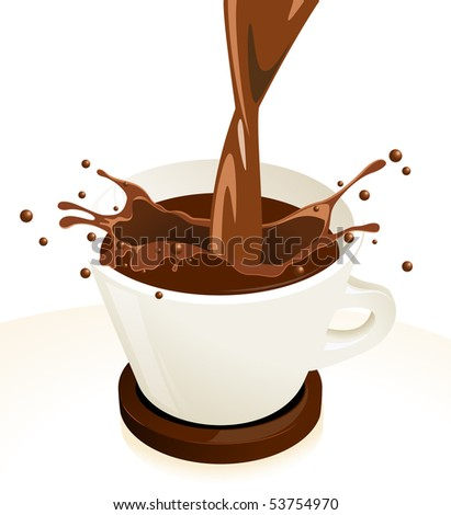 Coffee splash, vector illustration - stock vector