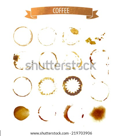 coffee stain circles in brown tones - stock vector