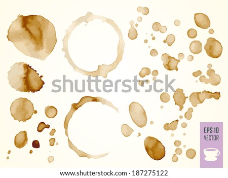 Coffee Stain, Isolated On White Backgroun. Drop of coffee. Coffee or drink chaya.Kapli. Splashes of coffee. Vector EPS 10 - stock vector