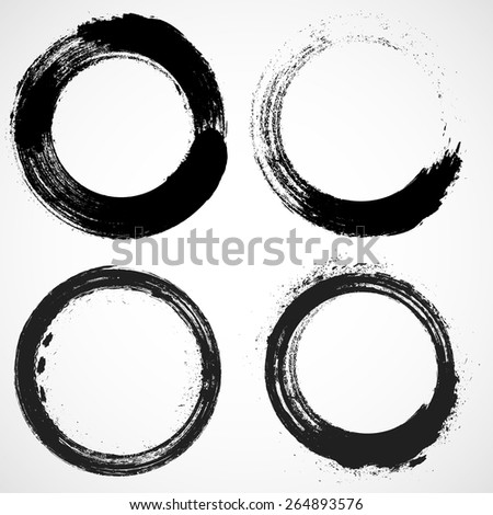 Coffee Stain Ring Vector . Vector Circle Shape . Circle Stamps . Round Brush Stroke . Icon, Logo, Banner Design  - stock vector