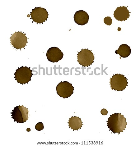 Coffee Stain Set, Isolated On White Background, Vector Illustration - stock vector