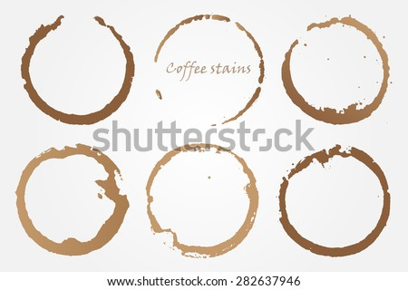 Coffee stains.Coffee cup rings.Vector template. - stock vector