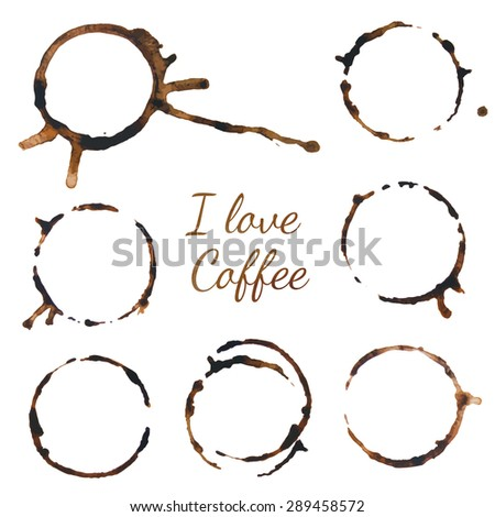 Coffee stains. Vector illustration on white background. Traces coffee.