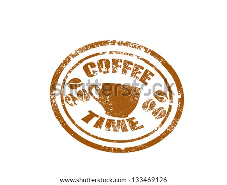 Coffee stamp on white background vector illustration - stock vector