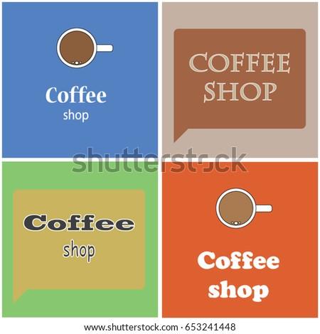 Coffee Stickers Glass Door Stock Vector 653241448 Shutterstock