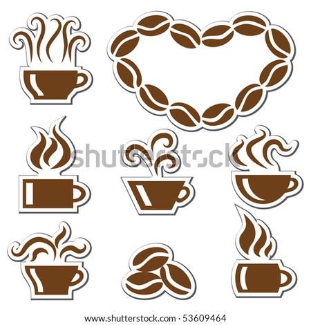 coffee stickers set - stock vector