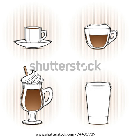 Coffee, stylized design elements - stock vector
