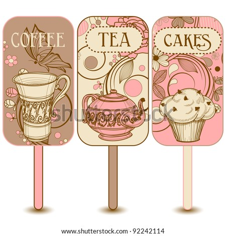 Coffee, tea and cakes labels - stock vector