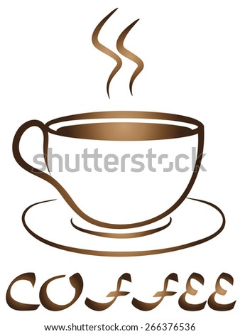 Coffee Tea Cup logo vector design. Cafe emblem