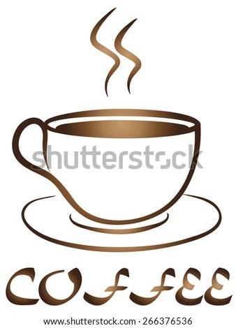 Coffee Tea Cup logo vector design. Cafe emblem - stock vector