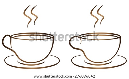 Coffee Tea Cup logo vector design. Cafe emblem set  - stock vector