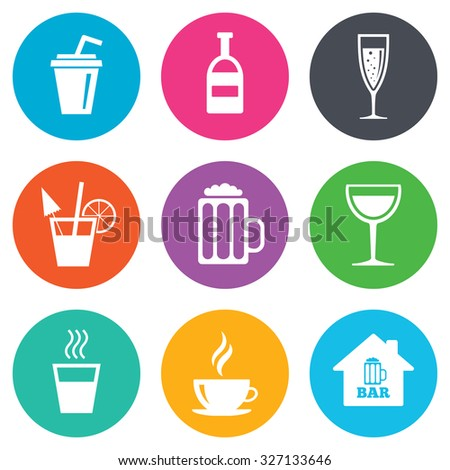 Coffee, tea icons. Beer, wine and cocktail signs. Soft and alcohol drinks symbols. Flat circle buttons. Vector - stock vector