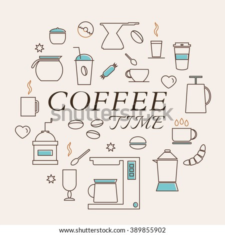Coffee Time Icons Set in Thin Line Style. Coffee machine. Coffee pot and coffee cup. Coffee dessert. Vector. - stock vector