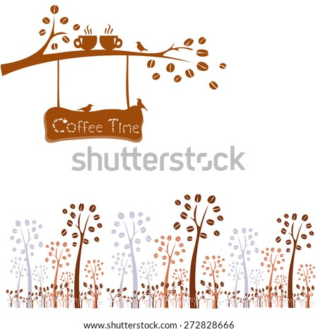 Coffee time. Tree silhouette with cups in love on tree branch - stock vector