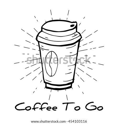 Coffee to go label. Coffee paper cup with bean. vector illustration - stock vector
