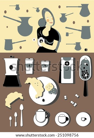 Coffee tools with happy smiling girl on a background