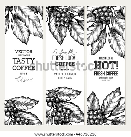 Coffee tree illustration engraved style illustration stock vector coffee tree illustration engraved style illustration vintage coffee banner collection vector illustration altavistaventures Image collections