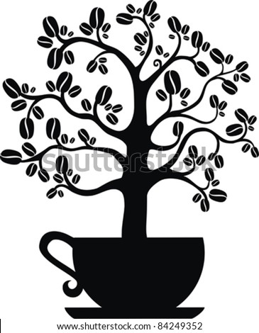 Coffee tree isolated on white background, vector illustration - stock vector