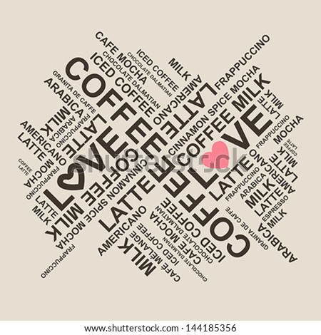 coffee typography stain background - vector - stock vector