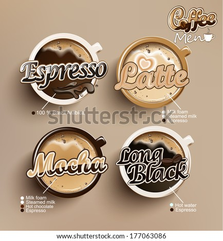 Coffee vector icon set menu. - stock vector