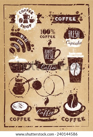 Coffee vintage, grunge element, retro coffee on the kraft paper texture - stock vector