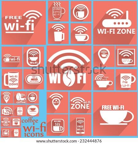 Coffee WIFI icons 2 - stock vector