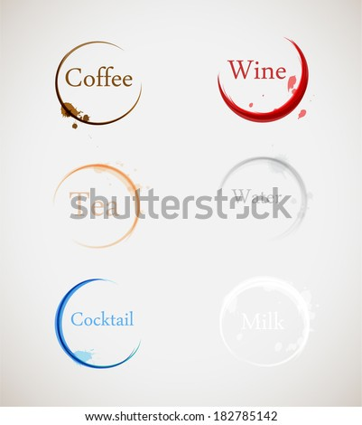 coffee, wine, tea, water, cocktail and milk stain - stock vector