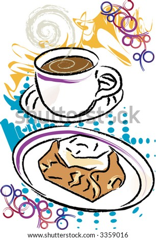 Coffee with Danish Pastry are featured in this grunge style vector illustration. - stock vector
